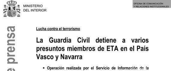 El Ministerio del Interior informa de una operación contra ETA antes de que se