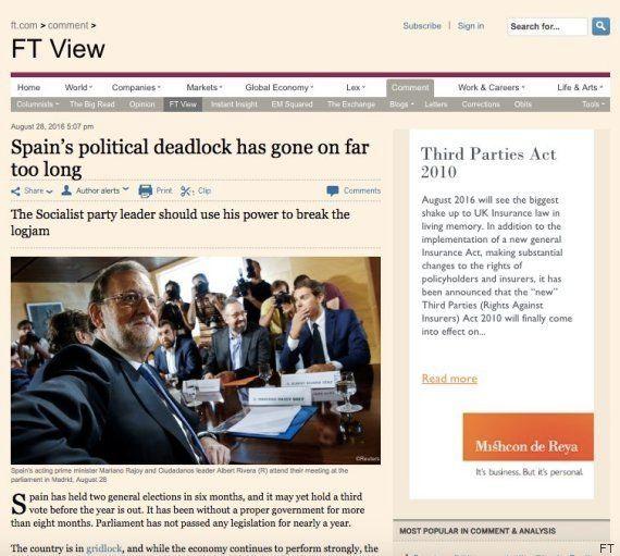 El 'Financial Times' pide la abstención de Sánchez en la investidura de