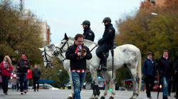El dispositivo policial alrededor del Calderón
