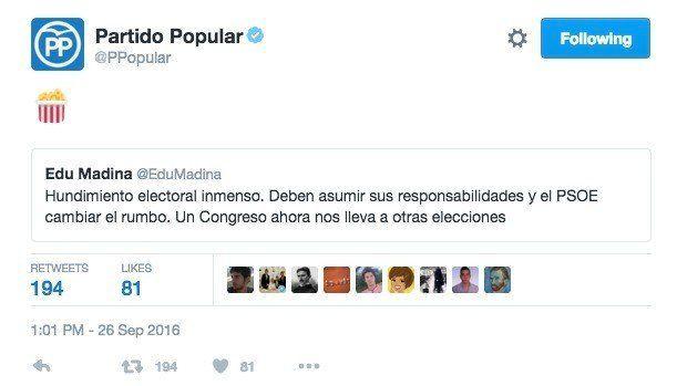 El PP lo goza en Twitter con la crisis del