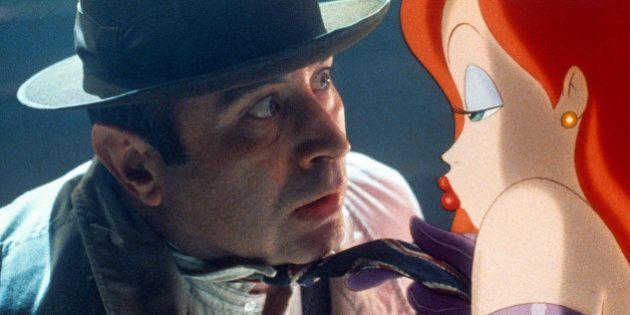 Bob Hoskins is seduced by Jessica Rabbit in a scene from the film 'Who Framed Roger Rabbit', 1988. (Photo...