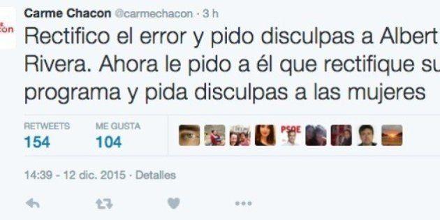 Carme Chacón saca un falso tuit machista de Albert Rivera e incendia