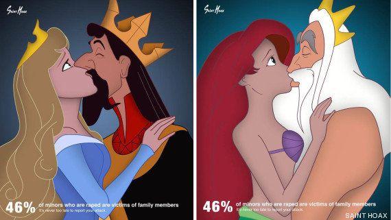 Las princesas Disney también sufren malos tratos: los dibujos de Saint Hoax