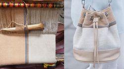 Estos bolsos están hechos con telas naturales elaboradas por mujeres indígenas de