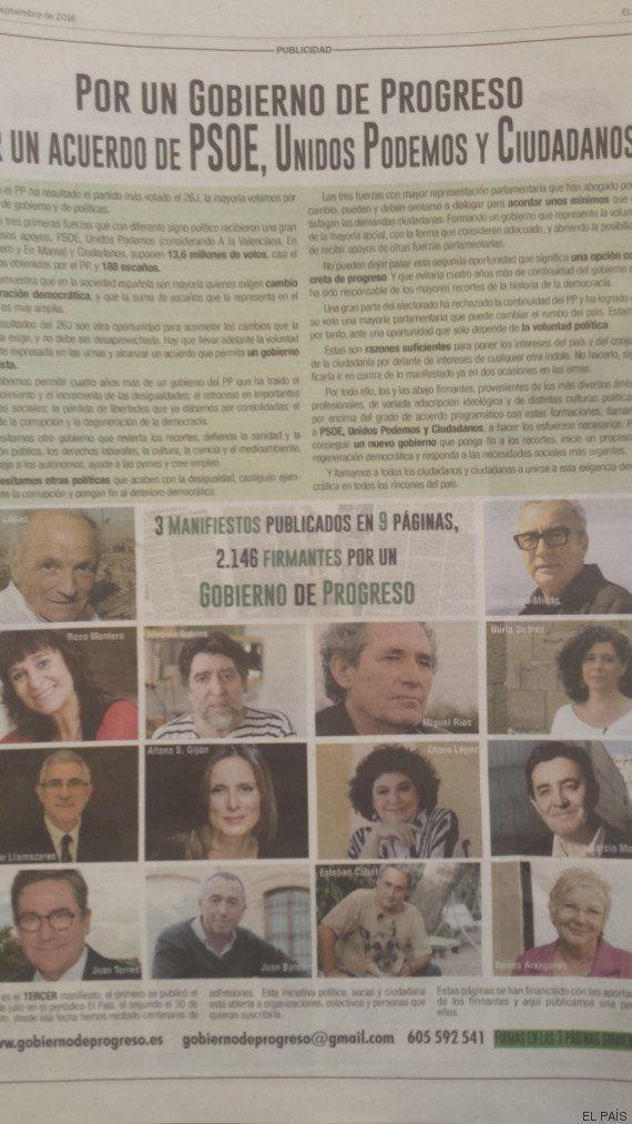 Sabina, Trueba, Millás... 2.000 artistas, políticos y profesionales piden un