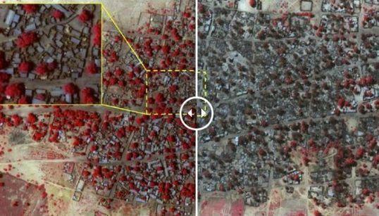 La foto del antes y el después del pueblo que Boko Haran borró del