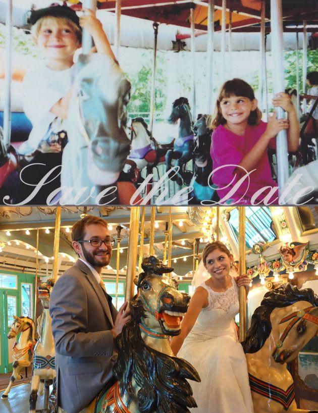 Repetir una foto años después: foto de boda en un tiovivo para recordar una imagen de 23 años