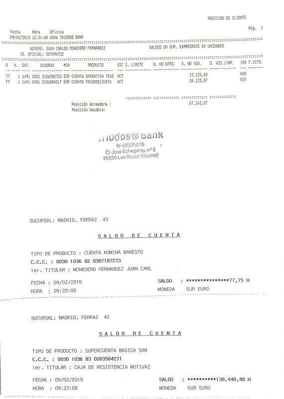 Monedero difunde los extractos de sus cuentas: 205.000 euros en cuatro