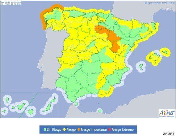 39 provincias en alerta por lluvia, nieve y