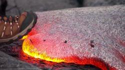 Esto es lo que ocurre cuando pisas lava incandescente