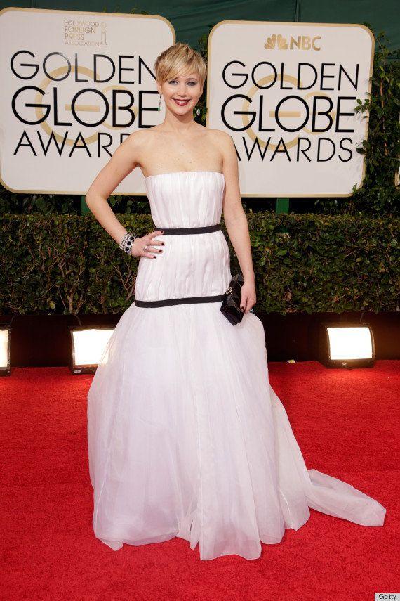 Jennifer Lawrence en los Globos de Oro 2014: los montajes de su vestido