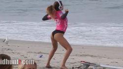 El calentamiento de esta surfista, el más famoso desde Michelle