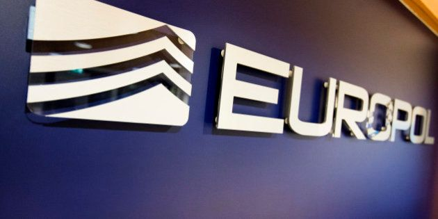 The Europol Logo in the Europol headquarters in The Hague, Netherlands, Tuesday, Nov. 24, 2015. (AP Photo/Jiri