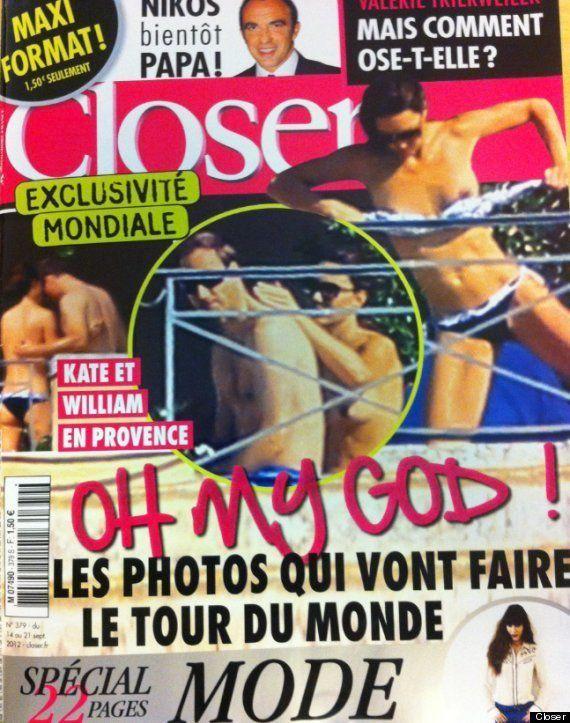 Pillada en topless: Kate Middleton, en la portada de la revista francesa 'Closer'