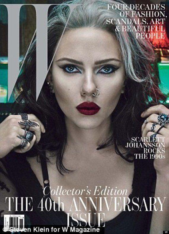 Scarlett Johansson: gótica con pelo blanco en la portada de 'W'