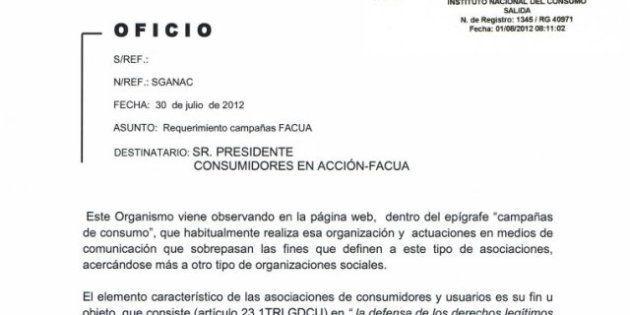 La asociación de consumidores FACUA denuncia amenazas del Ministerio de