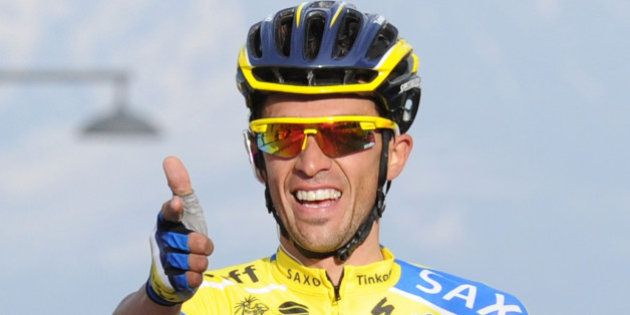 AREZZO, ITALY - MARCH 15: Alberto Contador of Tinkoff Saxo crosses the finish line and wins stage four...