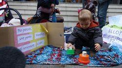 Bebés 'abandonados' protestan por plazas en las guarderías francesas