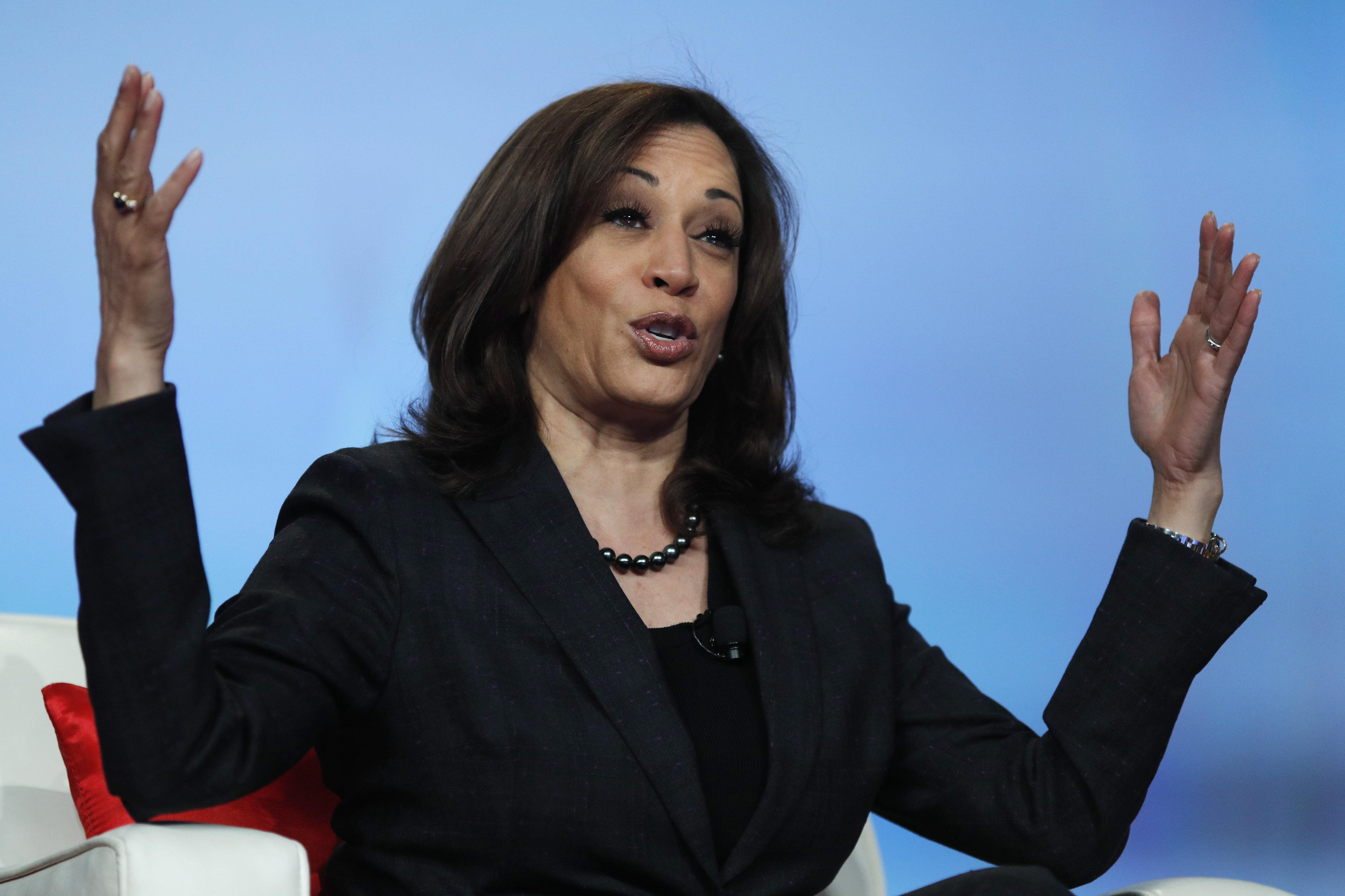 Sen. Kamala Harris, D-Calif., speaks at the Black Enterprise Women of Power Summit, Friday, March 1, 2019, in Las Vegas. (AP Photo/John Locher)