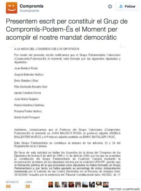 Podemos registra grupo con En Comú, En Marea, sus diputados valencianos pero sin