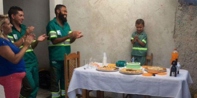El niño brasileño que pudo cumplir su sueño gracias a los basureros de su