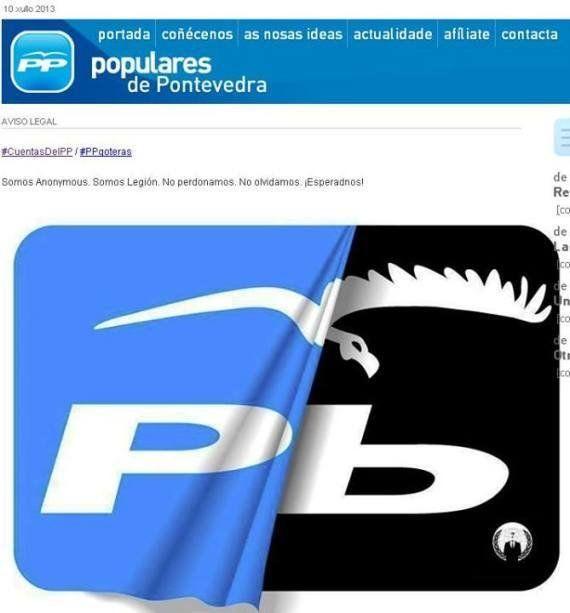 Anonymous y el PP de Pontevedra: Los activistas atacan la web del partido y colocan un