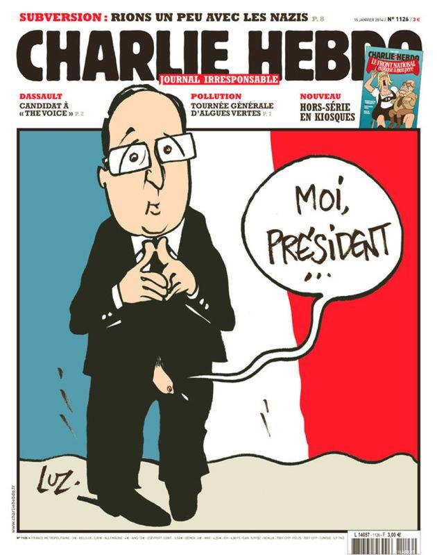 El semanario satírico Charlie Hebdo publica una caricatura de Hollande con el pene al