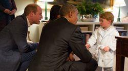 El príncipe Jorge conoce a Obama en bata y