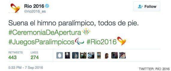 La cuenta oficial de Río 2016 en Twittter la lía durante la apertura de los Juegos