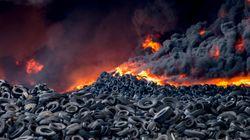 El incendio del cementerio de neumáticos de Seseña afecta a ocho