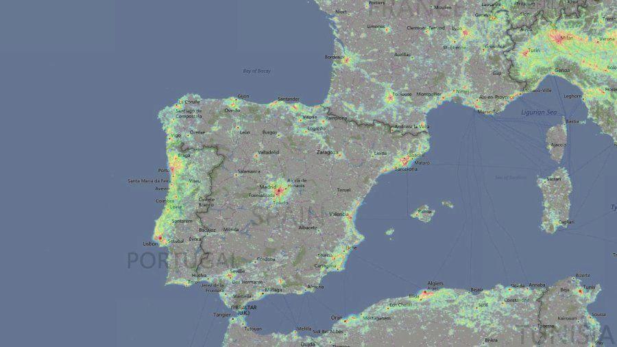 El mapa que muestra cuánta contaminación lumínica soportas en tu