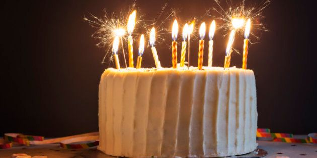 Birthday cake with candles and