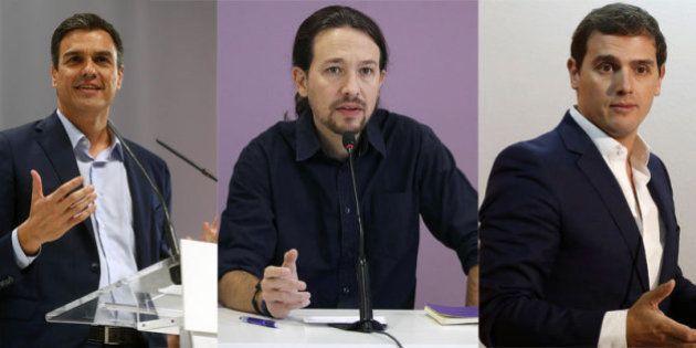 Encuentro entre los candidatos Pedro Sánchez, Albert Rivera y Pablo Iglesias en 'El Huffington