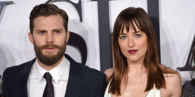 LONDON, ENGLAND - FEBRUARY 12: Jamie Dornan and Dakota Johnson attend the UK Premiere of 'Fifty Shades...