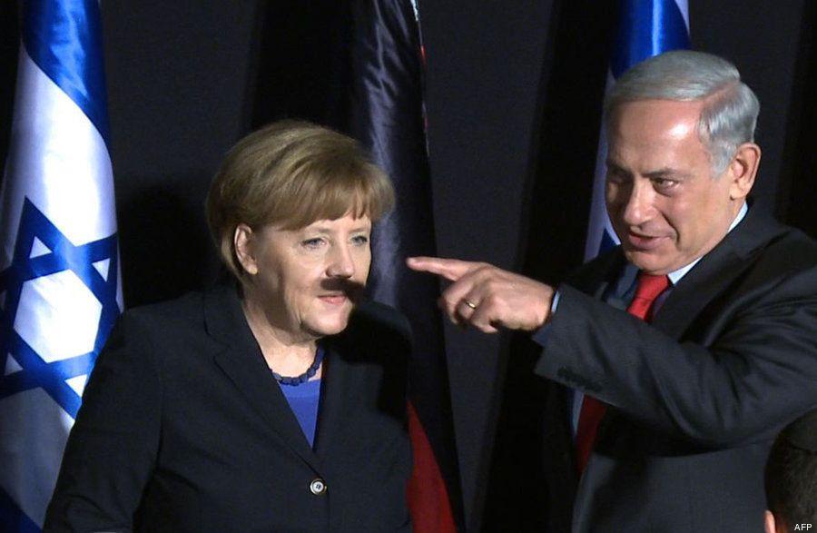 La foto de Merkel con un bigote a lo 'Hitler' por la sombra de Netanyahu se hace