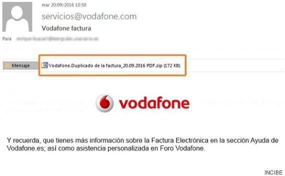 Alertan de una campaña de 'e-mails' fraudulentos que suplantan a Vodafone