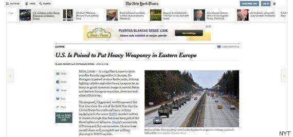 EEUU enviará armamento pesado al este de Europa para disuadir a Rusia, según 'The New York