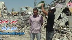 Un 'Ice Bucket Challenge' con escombros por Gaza