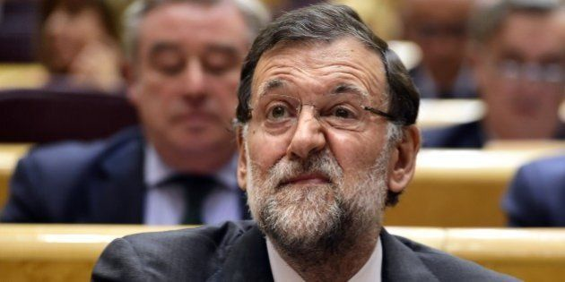 Spanish Prime Minister Mariano Rajoy gestures during a control session of the government at the Spanish...