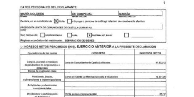 Cospedal ingresó en 2012 61.263 euros netos, según su declaración de actividades