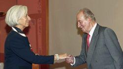 El rey se reúne en Bilbao con la directora del FMI y el presidente del