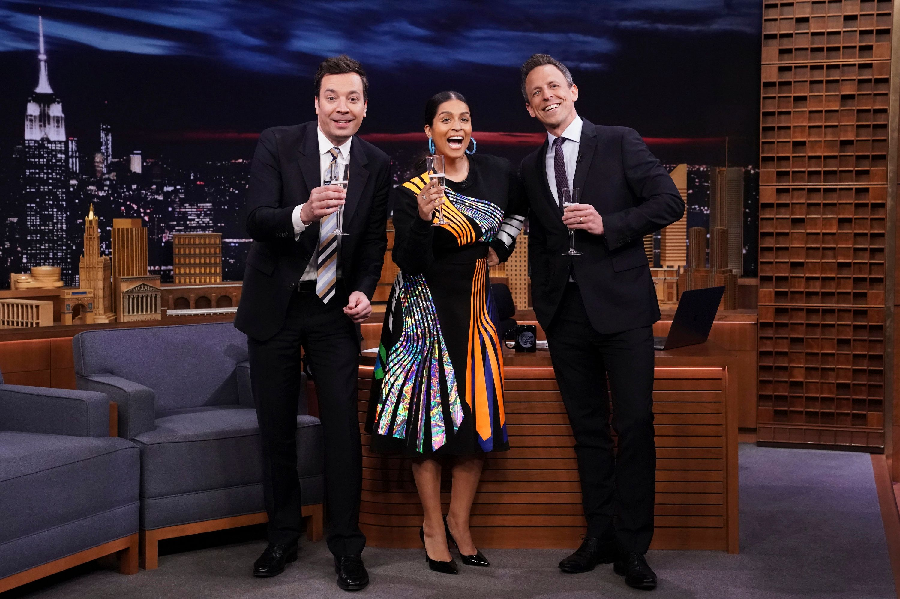THE TONIGHT SHOW STARRING JIMMY FALLON -- Episode 1030 -- Pictured: (l-r) Host Jimmy Fallon, comedian Lilly Singh, and 'Late Night' host Seth Meyers during a special announcement on March 14, 2019 -- (Photo by: Andrew Lipovsky/NBC/NBCU Photo Bank via Getty Images)