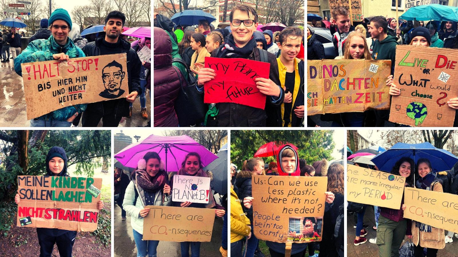 Schüler bei der #FridaysForFuture-Demo in