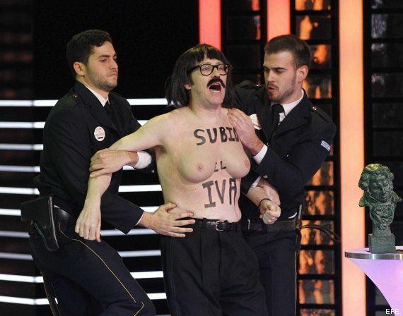 Joaquín Reyes hace un Femen en los Goya: