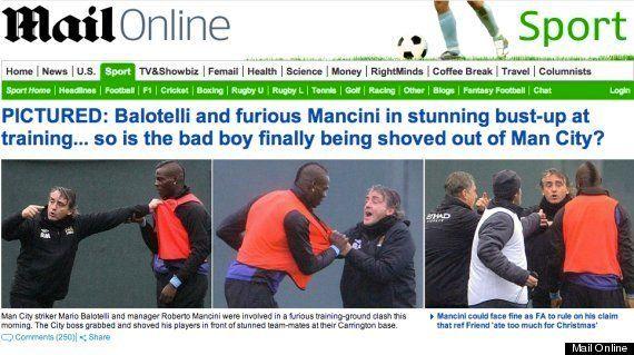 Mario Balotelli se pelea con su entrenador del Manchester City, Roberto Mancini, durante un