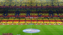 Así fue la senyera gigante del Camp Nou (VÍDEO,