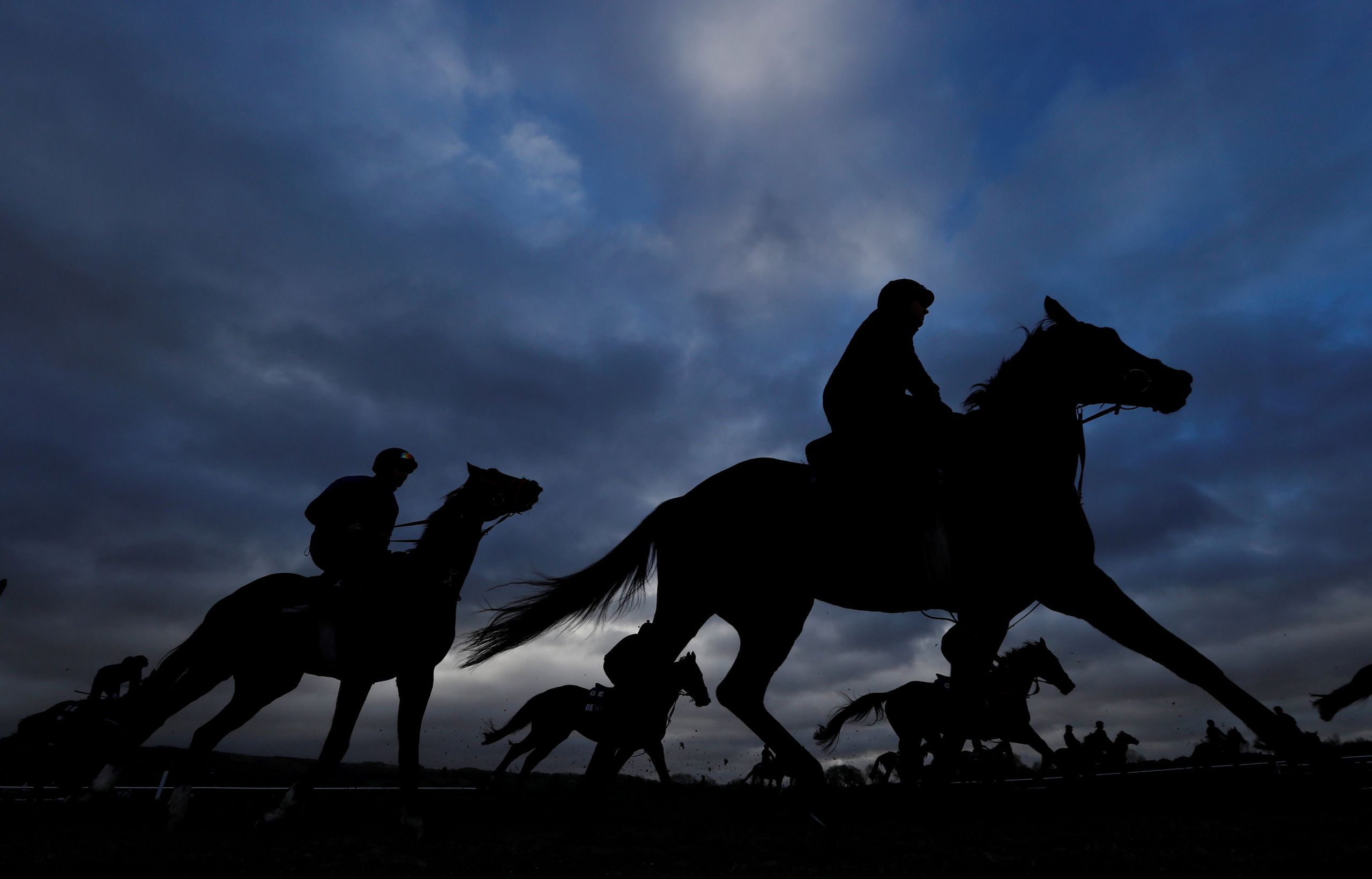 General view during the morning gallops at the Cheltenham Racecourse in Cheltenham, Britain, on March 13, 2019.