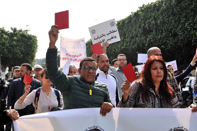 Manifestation des enseignants contractuels, le 5 mars 2019 à