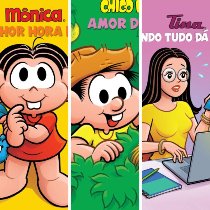 Livros contam com histórias de personagens como Mônica, Chico Bento, Tina, entre outros.