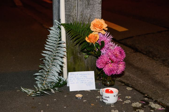 A floral tribute on Linwood Avenue near the Linwood Masjid on March 15, 2019, in Christchurch, New Zealand.
